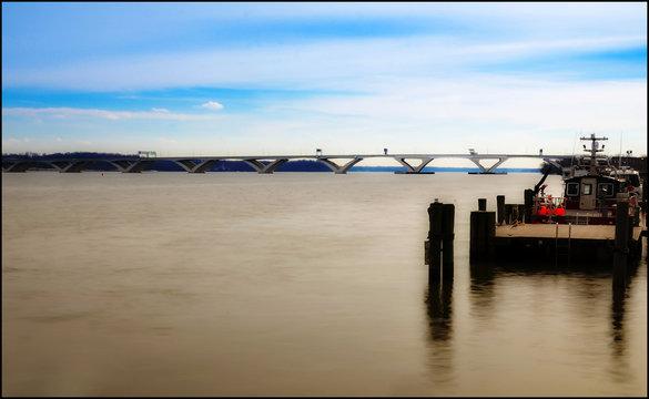 Woodrow Wilson Memorial Bridge From Alexandria, Virginia