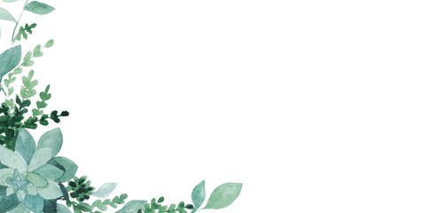 watercolor green leaves  isolated on white. Sketched wreath, floral and herbs garland. Handdrawn watercolour illustration Wall mural