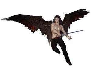Fallen angel man with large brown wings and leather pants and sword. 3d renderings. 3d illustrations.