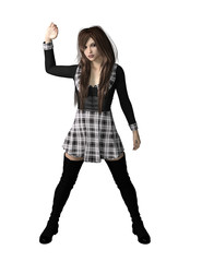 Female in school uniform with long hair and arm up. 3d renderings. 3d illustrations.