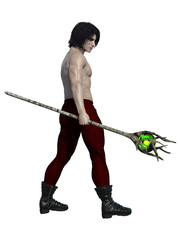 Man with long brown hair and fighting staff. 3d renderings. 3d illustrations.