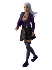 Punk rock girl in purple with white hair. 3d render.