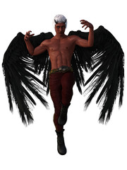 Male red demon with black wings and white hair. 3d renderings. 3d illustrations.
