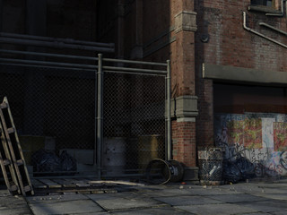 Urban city side street with trash and fence. 3d renderings. 3d illustrations.