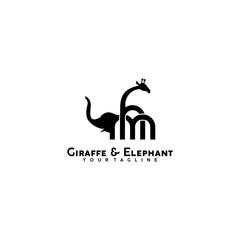 giraffe and elephant logo design
