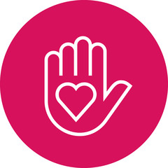 Hand Giving Heart Outline Icon
