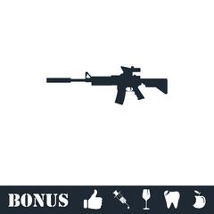 Assault carbine icon flat