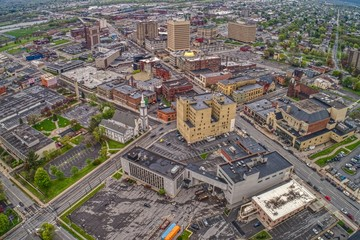 Aerial View of Downtown Utica in Upstate New York
