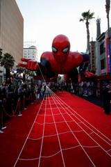 """A giant spider-man balloon is seen above the red carpet along a closed Hollywood Blvd. outside the TCL Chinese Theatre for the World Premiere of Marvel Studios' """"Spider-man: Far From Home"""" in Los Angeles"""