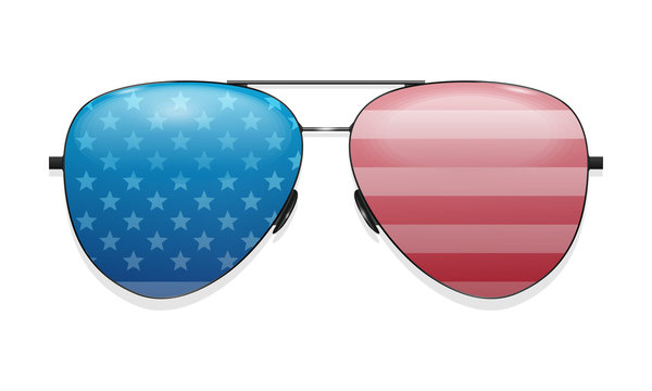 Glasses that reflect the US flag. Vector icon