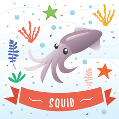 Squid animal cartoon character. Cute octopus cartoon, Vector illustration of Squid. Beautiful squid, coral and colorful reefs and algae