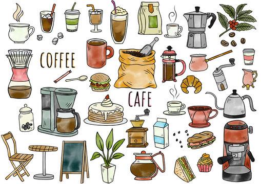 手描きイラスト:コーヒーグッズ 水彩カラー