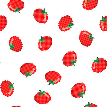 Seamless pattern with 8 bit pixel tomato on a white background. Vector illustration. Old school computer graphic style.