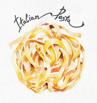 Pasta. Fettuccine, tagliatelle. Watercolor hand drawing. Food, vegetables and fruit isolated on white background. Book illustration, recipe, menu, magazine or journal article.