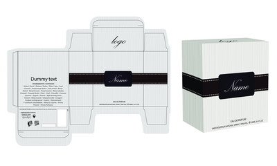 Packaging design, perfume luxury box design template and mockup box. Illustration vector. Wall mural