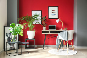Wall Mural - Interior of modern room with comfortable workplace