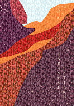 Natural landscape background with Japanese wave pattern vector. Desert template in vintage style.