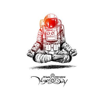 Astronaut in spacesuit yoga gestures , Hand Drawn Sketch Vector illustration.