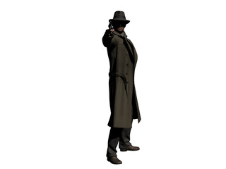 Detective in Trenchcoat with a Gun 3d-Illustration
