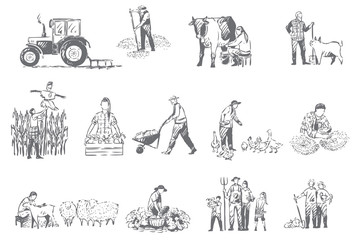 Farming business, rural economy concept sketch