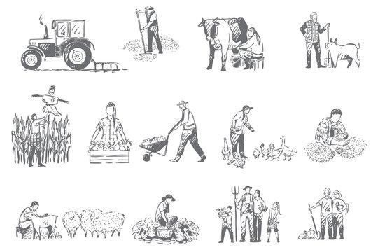Farming business, rural economy concept sketch