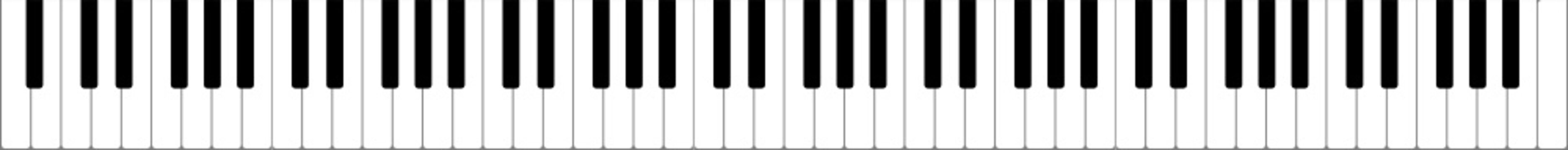 High quality realistic and proportionate vector illustration of full lenght 88 keys (88 notes, 7 octaves) piano keyboard. Editable vector eps file for music school related projects