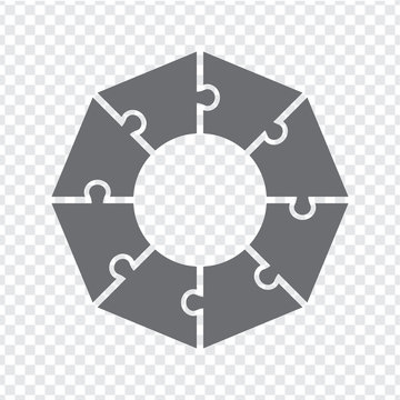 Simple icon octagon puzzle in gray. Simple icon puzzle of the eight elements on transparent background.  Simple icon puzzle gear wheel.  Flat design.  EPS10.