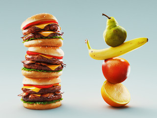 Eating lifestyle comparison between junk food and fruits, 3d rendering