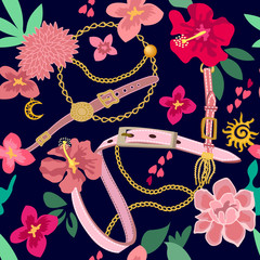 Colorful flourish print with belts and chains.