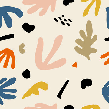 Seamless childish pattern with hand drawn abstract leaves and shapes. Creative scandinavian kids fabric, wrapping texture, textile, wallpaper, home apparel. Vector illustration.