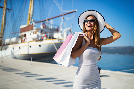 Luxurious life for woman enjoying travel, summer vacation