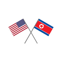 Vector illustration of the american (U.S.A.) flag and the korean (DPRK) flag crossing each other representing the concept of cooperation