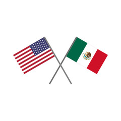 Vector illustration of the american (U.S.A.) flag and the mexican flag crossing each other representing the concept of cooperation