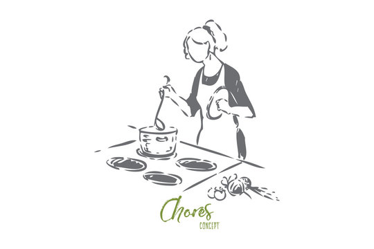 Home chef concept sketch. Isolated vector illustration