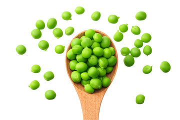 Fototapeta fresh green peas in a wooden spoon isolated on a white background. top view obraz