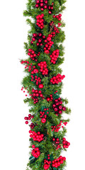 Christmas Garland with Red Berries Vertical Hang Isolated on White