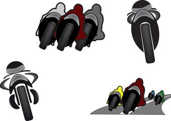 immagini di moto in varie posizioni in corsa adesivo