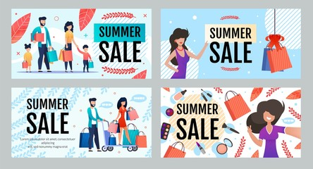 Advertising Banner Set Offering Season Summer Sale