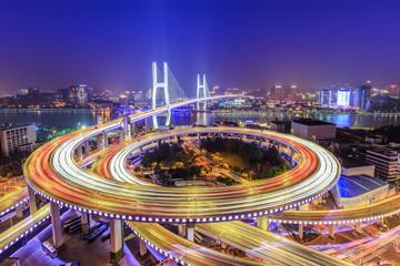 beautiful nanpu bridge at night,crosses huangpu river,shanghai,China Wall mural