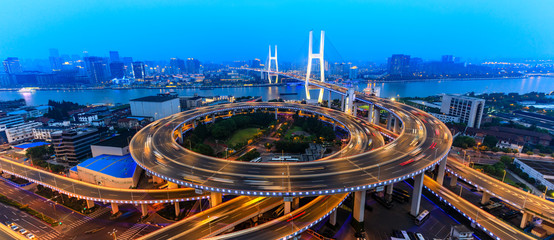 beautiful nanpu bridge at dusk,crosses huangpu river,shanghai,China
