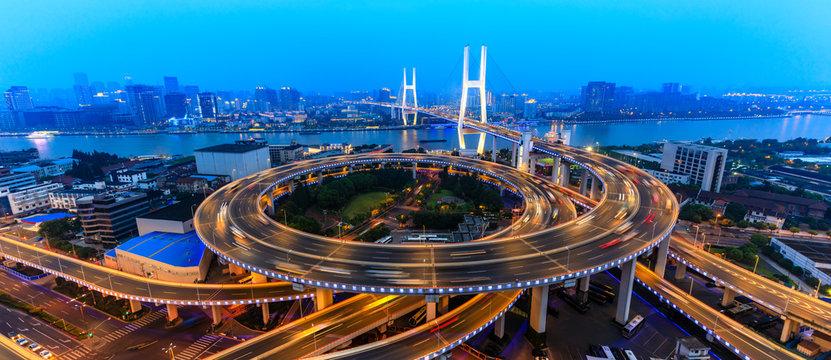 beautiful nanpu bridge at dusk,crosses huangpu river,shanghai,China