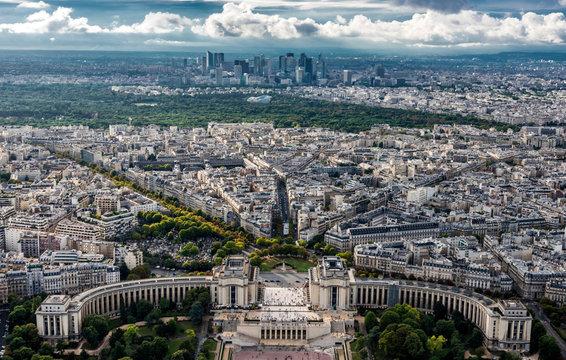 France, Paris, 16th arrondissement of Paris, view from the Eiffel Tower (Trocadero, bois de Boulogne with the Louis Vuitton Foundation, business district of La Defense)
