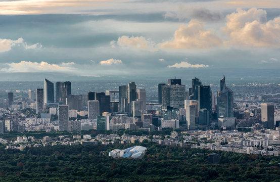 France, Paris, view from the Eiffel Tower (bois de Boulogne with the Louis Vuitton Foundation, business district of La Defense)