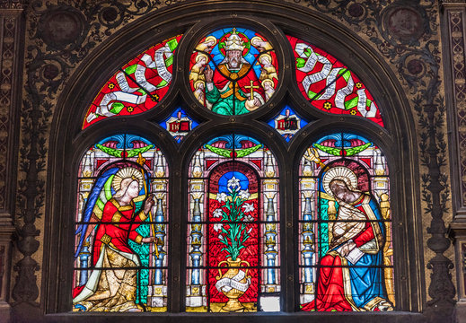 France, 1st arrondissement of Paris, Church of Saint-Eustache, stained-glass window of the chapel of the Virgin Mary