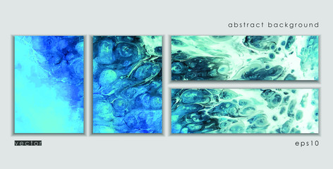 Vector cards. Set of templates brochure, cover and sheets. Abstract painted background. Liquid marble texture.