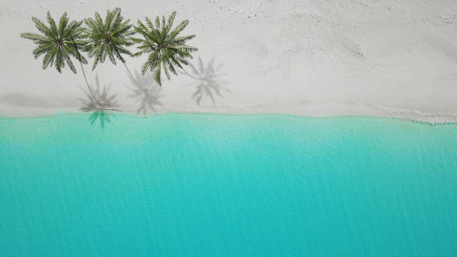 3D-Illustration aerial view of sandy beach. exuma bahamas