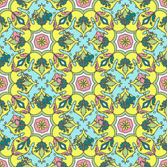 Garden Poster Moroccan Tiles Leaves contours, Rainbow magenta pink orange turquoise lilac purple modern trendy floral seamless pattern pastel colors on white. hand-drawn Geometric abstract background for site blog fabric.