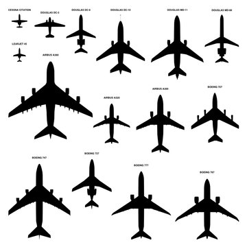 Vector collection of 15 commercial passenger airplanes silhouettes top view isolated on white background. Set of the most famous airliners with the real proportions.