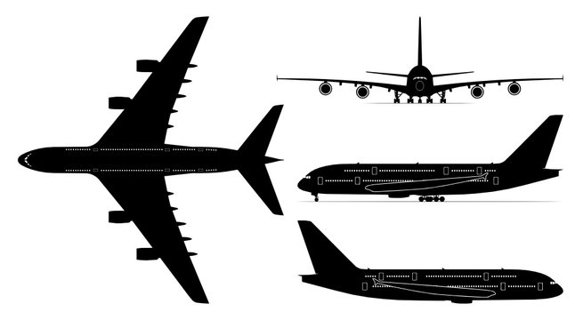 Vector set of four passenger jetliner illustrations (Airbus A380) isolated on white background. Editable EPS file available.