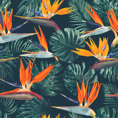 Seamless pattern with tropical flowers and leaves. Strelitzia flowers, Monstera and Palm leaves. Realistic style, hand drawn, vector. Background for prints, fabric, wallpapers, poster, wrapping paper.